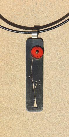 red enamel flower pendant nickel silver mixed metal hand-sawn stem on Etsy, $25.00