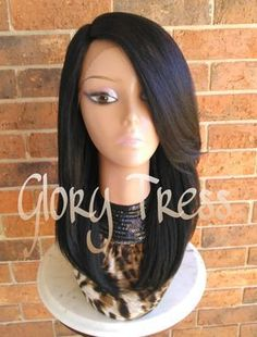 Our Kinky Yaki Straight Layered Lace Front Wig is just Big, BOLD and Beautiful! This wig minics natural Blown out African American Hair! This unit is super full and thick, but it is very…More Frontal Hairstyles, Wig Hairstyles, Straight Hairstyles, Black Hairstyles, Hairstyles 2016, 1930s Hairstyles, Hairdos, Short Haircuts, Party Hairstyles