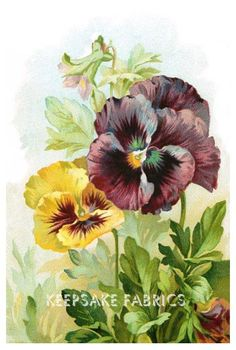 Pansy Postcard Reproduction Fabric Crazy Quilt Block Free