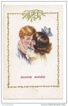 ENFANTS - Jolie Carte Fantaisie ENFANTS S´embrassant BONNE ANNEE