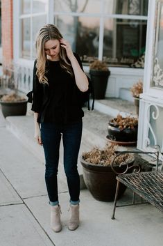 Hello Darling Tie Sleeve Top in Black – Ivy + June. Clothes for work. Formal Tops, Casual Tops, Ivy, Black Tops, Work Wear, June, Feminine, Stylish, Spring