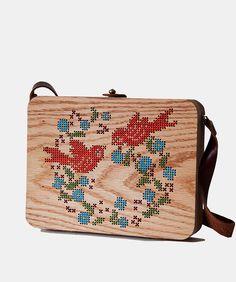 Bird Stitched Oak Wood Bag by Grav Grav - $410