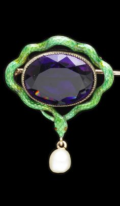 Child & Child - A Victorian gold, silver, enamel, amethyst and pearl pendant, London, circa 1900. With trademark of Child and Child struck on the back of the brooch above the pendent pearl. 3.4 x 3.2cm. #ChildAndChild #Victorian