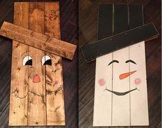 Extra Large Scarecrow / Snowman Reversible Decoration - Fall - Autumn - Winter Decor