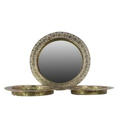 Urban Trends Metal Round Tray with Mirror Surface - Set of 3 - 94150