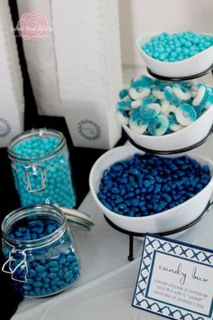 Something blue bridal shower,CUTE idea! maybe do wedding colors or something. fun candies are fun! Except my candy bar with thmed wedding colors Blue Candy Bars, Blue Candy Buffet, Bar A Bonbon, Something Blue Bridal, Candy Bar Wedding, Wedding Desserts, Before Wedding, Best Candy, Shower Party