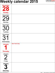 This printable weekly calendar starts the week on Sunday and also ...