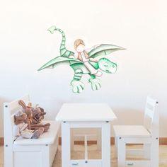 Decoración infantil Il Mondo di Alex, Vinilos - Stickers efecto pintado a mano, DRAGON II... personalizado con nombre y a medida.