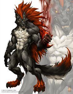 Hello Here a final version of this character for my friend OushiFighter, a big, bad, VERMILLION AND DARK WEREWOLF , well I hope you like it! Don't forget, I'm available for take comissions, please ...