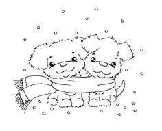 Sliekje digi Stamps: Cosy winter puppy's