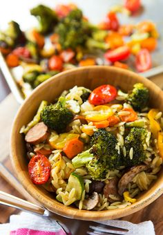 Roasted Vegetables and Andouille Orzo