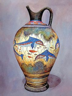 Minoan Urn Colourful dolphins, coral and fish decorate this urn. It is a modern-day replica of a style that was produced in Minoan times. The original vases produced around Santorini were used for storage of staples like olive oil, wine and almonds Greek History, Ancient History, Art History, Creta, Ancient Greek Art, Ancient Greece, Bronze Age Civilization, Minoan Art, Empire Romain