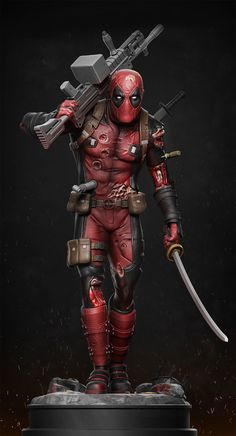 Deadpool statue printable model deadpool marvel gore katana, formats STL, ready for animation and other projects Deadpool Wallpaper, Cartoon Wallpaper, Marvel X, Marvel Heroes, Deadpool Classic, Deadpool Art, 3d Printable Models, Spiderman Art, Game Character Design