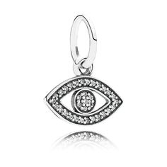 PANDORA Symbol of Insight Charm, in sterling silver with clear cubic zirconia.  <br>Known from many cultures around the world, the talismanic eye is linked to insight, and is said to protect against people who wish you harm - gain strength and clarity by wearing the amulet on a bracelet or necklace.<br> <b> Style</b> 791349CZ