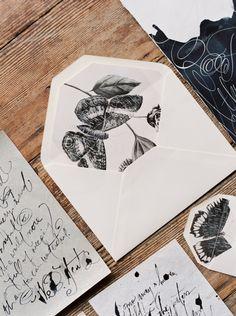 Inspiration: ink interior, handmade envelope