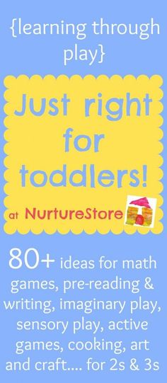 Activities for toddlers :: learning through play - NurtureStore There are all kinds of activities for toddlers on this website. they are divided up into categories. Definitely a must-pin if you have a toddler around! Toddler Play, Toddler Learning, Preschool Learning, Toddler Preschool, Kids Learning, Teaching, Learning Tools, Infant Activities, Educational Activities