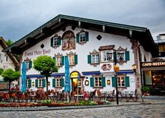 Oberamergau, Bavaria, Germany I LOVE, LOVE, LOVED ALL of Bavaria and we actually had kaffee at this cafe.