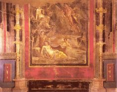"""21.  """"4. stílusú"""" freskórészlet, megalographiával. pompeii (""""hajók háza"""")."""