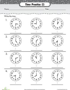 Worksheets: Time Review: On the Hour and Half Hour