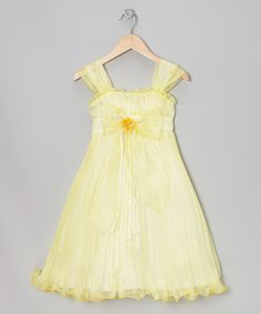 Take a look at the Yellow Bow Pleated Babydoll Dress - Toddler & Girls on #zulily today!