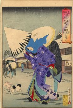 A Snowy Day by Toyohara Chikanobu