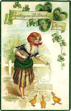 St Patrick's Day 1911 Lady Feeding Ducks Antique Vintage Gold Embossed Postcard St. Patrick's Day 1911 Pretty barefoot lady feeding ducklings. Used collectible antique vintage gold embossed postcard i