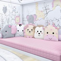 Pillows Little Friends Safari Pink Montessorian 5 Pieces - Kids and parenting - Kinderzimmer Baby Bedroom, Baby Room Decor, Girls Bedroom, Nursery Room, Baby Crib Sets, Baby Room Design, Baby Pillows, Baby Crafts, Crib Bedding