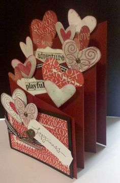 Valentines Day Cascading Card by MomToLissa - Cards and Paper Crafts atc Splitcoaststampers 3d Cards, Love Cards, Valentine Day Crafts, Happy Valentines Day, Valentines Day Cards Handmade, Kirigami, Cascading Card, Fancy Fold Cards, Scrapbook Cards