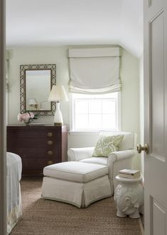 White and Green Bedroom with Brown Dresser - Transitional - Bedroom Bedroom Green, Cozy Bedroom, Room Decor Bedroom, Bedroom Furniture, Master Bedroom, Bedroom Ideas, Transitional Bedroom, Custom Drapes, Interior Design