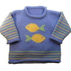 """Roo Designs - Fish Roll-Neck """"Fish Pullover pattern by Gail Pfeifle, Roo Designs"""", """"An original collection of charming knitting pattern designs for babi Intarsia Knitting, Sweater Knitting Patterns, Knitting Designs, Knit Patterns, Baby Boy Sweater, Knit Baby Sweaters, Cardigan Bebe, Baby Cardigan, Baby Boy Knitting"""