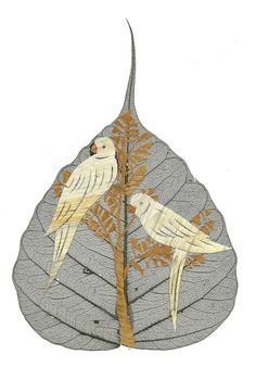 VALENTINE Love Birds Handmade with dried leaves of rice plant by museumshop.  No two leaves looks exactly alike.  Unique collectible leaf art.