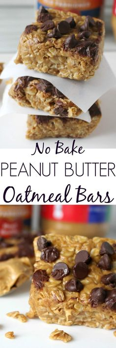 These No Bake Peanut Butter Oatmeal Bars are the perfect quick breakfast or afternoon snack. Healthy and delicious!!
