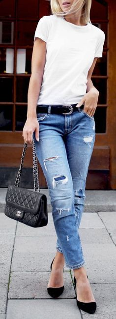 Ripped Denim And A Basic Tee