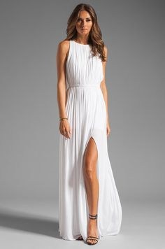 Sleeveless Ivory Draped Long Slit A-line Chiffon Simple Wedding Dress