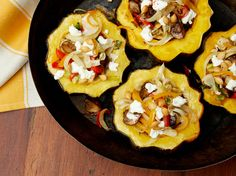 Roasted Acorn Squash with Mushrooms, Peppers and Goat Cheese Recipe : Guy Fieri : Food Network - FoodNetwork.com