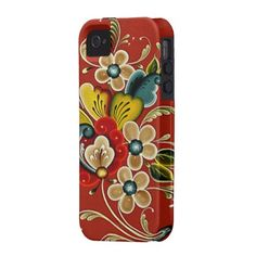 Scandinavian Norwegian  Rosemaling Folk Art Case-Mate iPhone 4 Covers