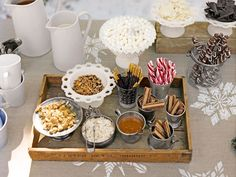 Have a #snow day party this weekend! Serve hot chocolate and let guests customize their own drinks with an assortment of candy.     #snowmaggedon #party Hot Chocolate Party, Chocolate Bar Recipe, Chocolate Dipped, Chocolate Shavings, Chocolate Bars, Winter Parties, Tea Parties, Peppermint Sticks, Hot Cocoa Bar