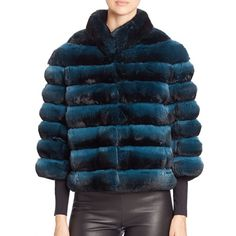 The Fur Salon Cropped Chinchilla Fur Jacket featuring polyvore, women's fashion, clothing, outerwear, jackets, apparel & accessories, teal, stand collar jacket, fur jacket, stand up collar jacket, fur lined jacket and fleece-lined jackets