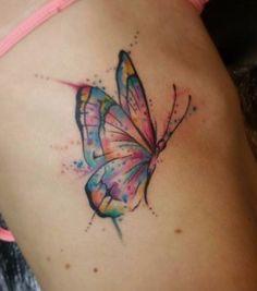 Butterfly tattoo, semicolon butterfly tattoo, small butterfly tattoo, m Watercolor Butterfly Tattoo, Butterfly Name Tattoo, Butterfly Tattoo On Shoulder, Butterfly Tattoos For Women, Butterfly Tattoo Designs, Semicolon Butterfly, Rose Tattoos, Leg Tattoos, Body Art Tattoos
