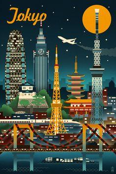 Tokyo, Japan - Retro Skyline (no text) - Lantern Press Artwork Giclee Art Print, Gallery Framed, Espresso Wood), Multi Text Poster, Print Poster, Skyline Art, Tokyo Skyline, Vintage Travel Posters, Retro Posters, Tokyo Japan, Stretched Canvas Prints, Japan Travel