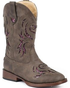 Girls' Shoes, Boots,Girls' and Glitter Breeze Cowgirl Boot Square Toe - Brown - # Toddler Cowgirl, Girls Cowgirl Boots, Kids Western Boots, Kids Boots, Roper Boots, Cool Boots, Casual Boots, Look Cool