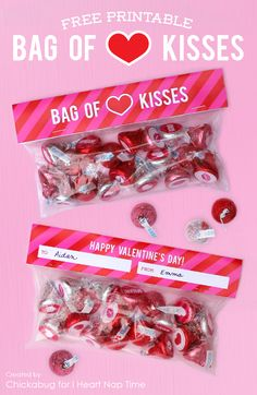 'Bag of kisses' FREE Valentine printable on iheartnaptime.com ... adorable and easy gift idea!