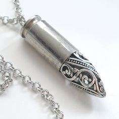 Silver Bullet Necklace Hippie Jewelry by TrashAndTrinkets, $32.00