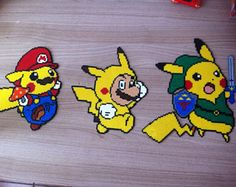 Pixel Art / Perler Beads Pikachu and Mario costume