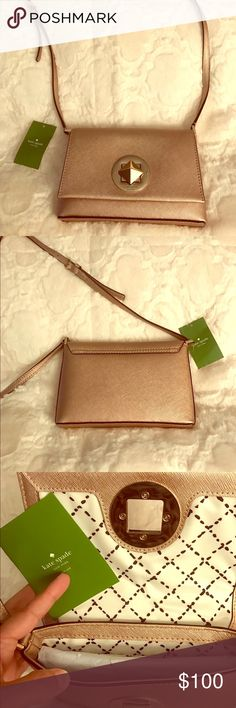 Brand new with tag Kate Spade Sally cross body Rosa Gold Sally cross body with Gold color hardware kate spade Bags Crossbody Bags