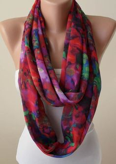 Gift - Mother's Day Gift  - Multicolor Infinity Scarf -  Chiffon Fabric. $17.90, via Etsy.