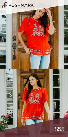 Red Embroidered Top Bright tomato red top with embroidery Model is wearing the size small No trades do not ask Tops Blouses