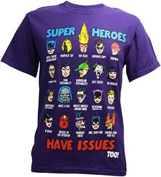 43cc4722b Changes DC Comics Super Heroes Have Issues Too Men's T-Shirt (Small)