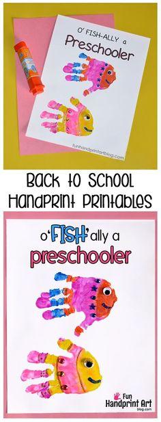 Day of School Handprint Printables: o'FISH'ally a Preschooler+ Day of School Handprint Printables: o'FISH'ally a Grader (Back toSchool Keepsake Craft) Hand Crafts For Kids, Back To School Crafts, Toddler Crafts, Preschool Activities, Preschool Projects, Preschool Curriculum, Toddler Art, Preschool Kindergarten, Toddler Preschool