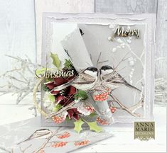 Super Easy Napkin Card Technique Video Tutorial available on how to make this card. Products used MDF Christmas Greetings, Anna Marie Designs Poinsettia and Holly Leaves Die, Crushed Ice Crystals and Snow in a Bottle. Christmas Greetings, Christmas Cards, Napkin Cards, Birthday Card Pop Up, Ice Crystals, Holly Leaf, Cards For Friends, Christmas Inspiration, Poinsettia